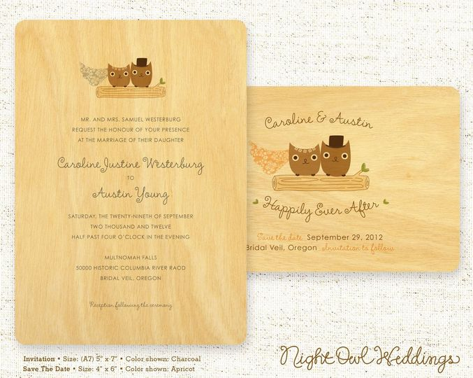 Mr & Mrs Hoot Wood Wedding Invitation & Save the Date shown in various colorways. (Alternate...