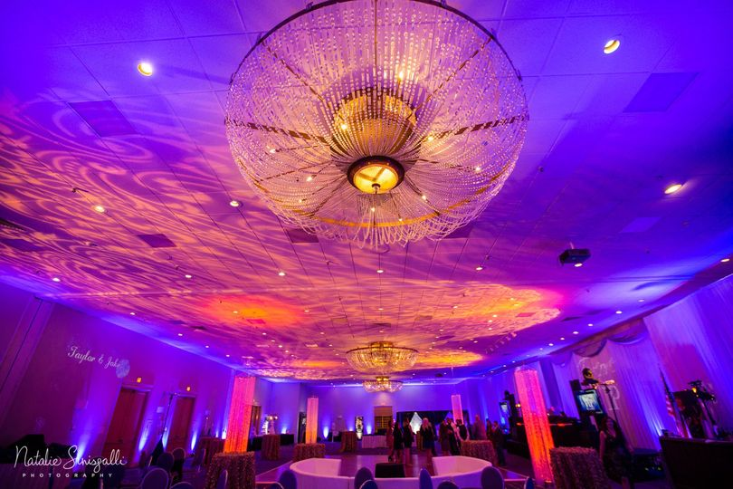 Reception hall and chandelier