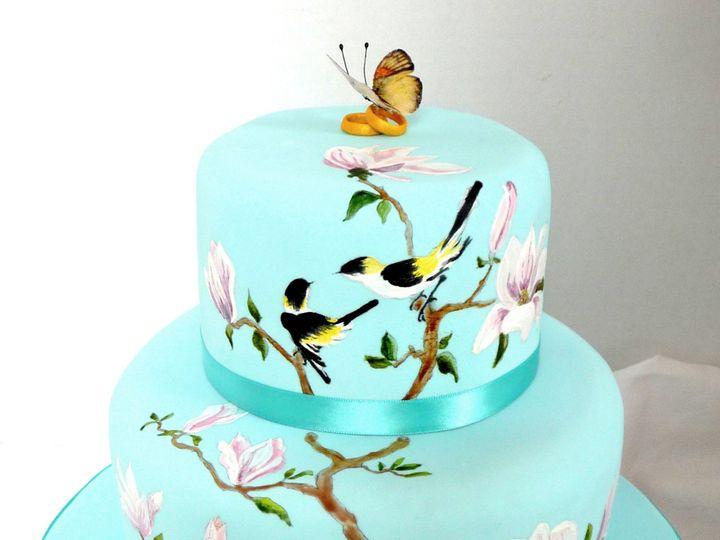Tmx 1378426525462 Birdsmagnoliabridalshowercake Manchester, Massachusetts wedding cake
