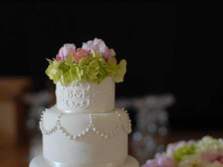 Tmx 1407977329377 Whiteonwhitepipedwithflowersdetail Manchester, Massachusetts wedding cake