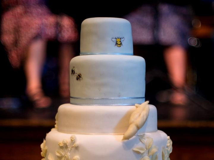 Tmx 1425522170153 Dovesandbeeshydrangeasandboka Manchester, Massachusetts wedding cake