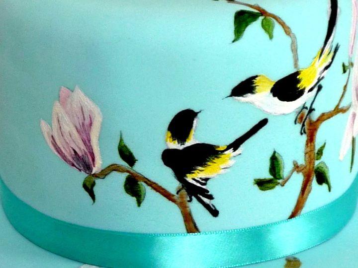 Tmx 1425575734156 Birdmagnoliacakedetail1 Manchester, Massachusetts wedding cake
