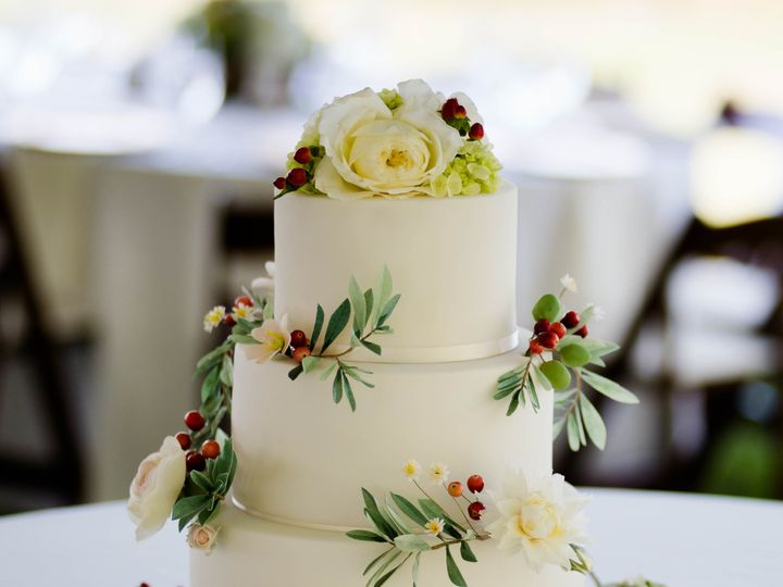 Tmx 1447690780871 Edible Wafer Paper Olive Leaves And Cream Roses We Manchester, Massachusetts wedding cake