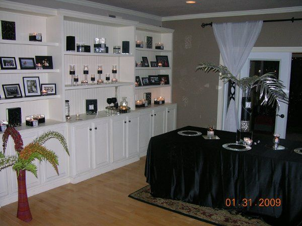 40th birthday party, simple black and silver... perfect for a man's party. 40 guest