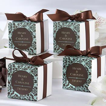 Chocolate & Turquoise Damask Wedding Favor Box