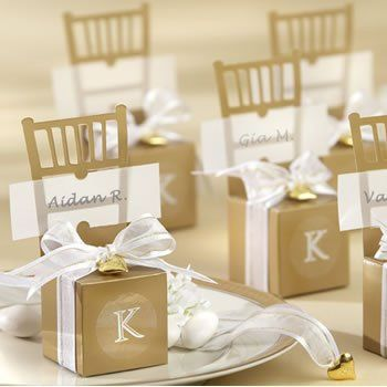 Gold chair wedding favor box