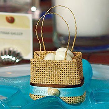 Woven mini beach bag favor bag