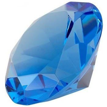 Small blue diamond shaped paper weight wedding favor