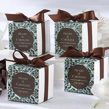 Tmx 1274646364669 Chocolateturquoisedamaskbox Lake Mary wedding favor