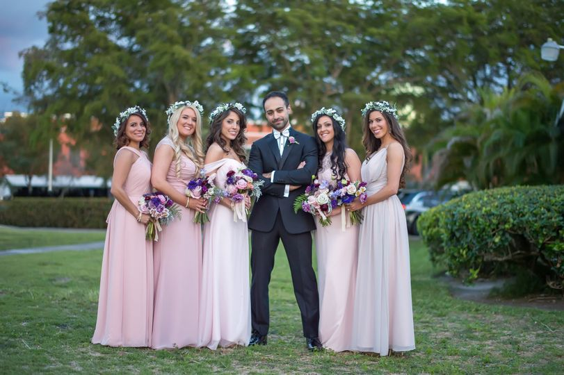 The couple with bridesmaids