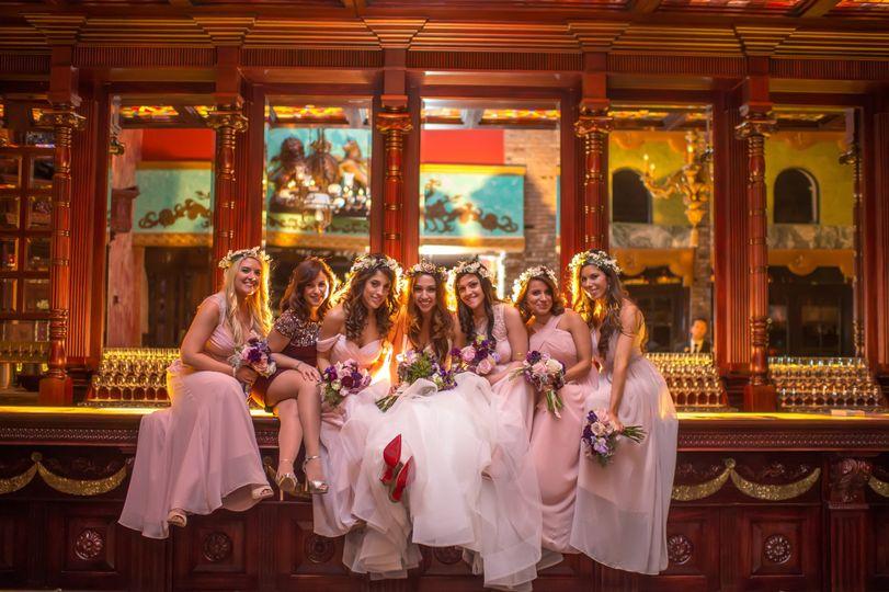 Bride and bridesmaids at cruz building 3rd floor bar