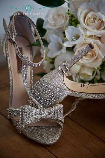 Wedding shoes and flowers.