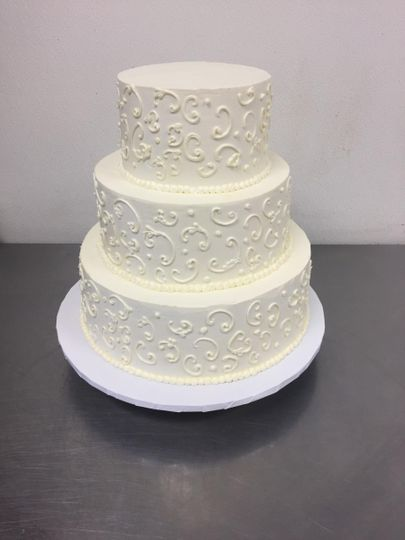 Hand piped scroll work