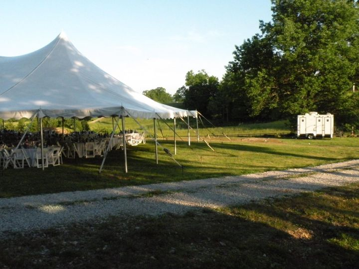 Reception tent and luxury restroom trailer