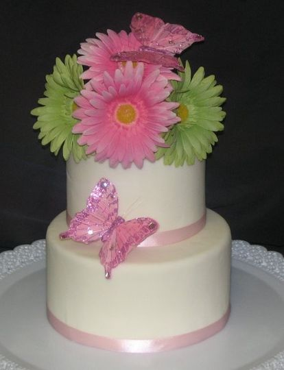 Small 2 tiered spring wedding cake