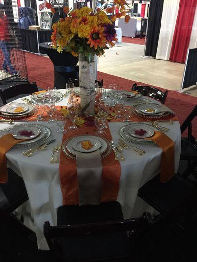 Orange table cloths