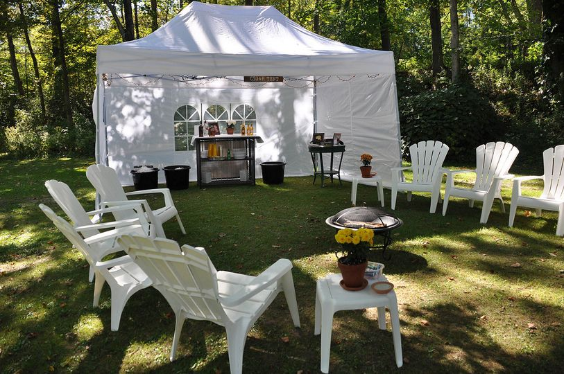 Tent and barbecue setup