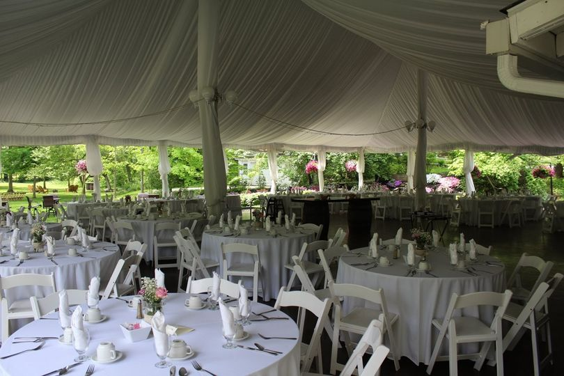 Table setup under the tent