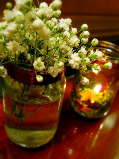 Wedding Decor - Mason jars with wildflowers and candles