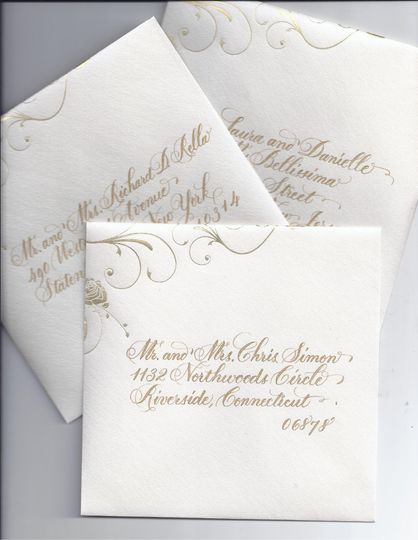 Gold lettering works very well on this envelope. Style of hand lettering is simple but definitely...