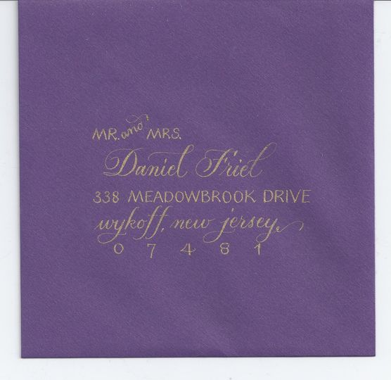 Vary the styles within the address. The gold on this envelope makes the address pop. What a...