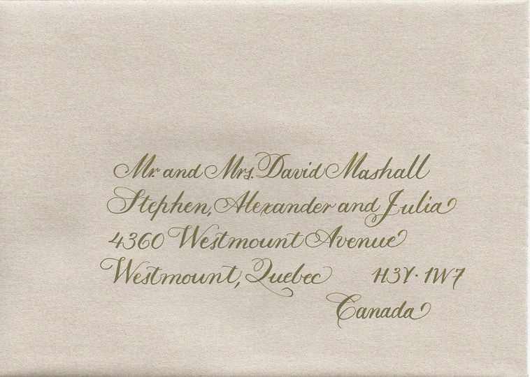 All calligraphy is done by hand. Select a type style that will compliment your invitation. Ink...