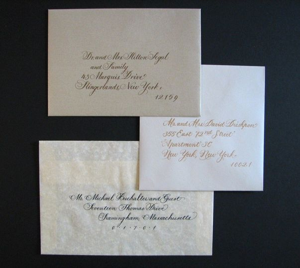Different styles of script are available for your envelopes. Addresses can be indented or flush...