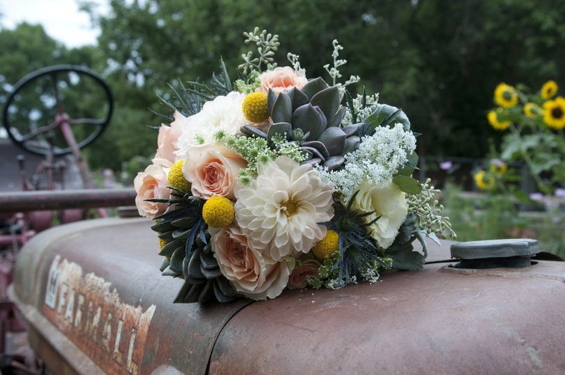 Bouquet on a tractor