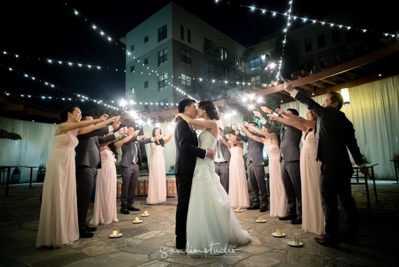 A Grand Exit on the NOOR Terrace Following Jean & Jerry's Sofia Ballroom Wedding. Photo Credit: Sam...