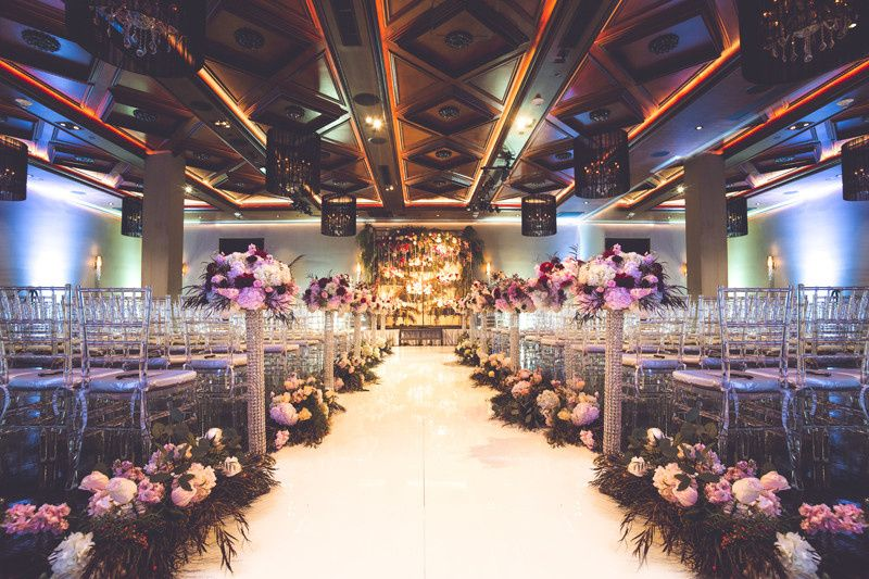 The Ella Ballroom Ceremony Setup for Ashley & Miguel's Great Gatsby Themed Wedding at NOOR. Photo...