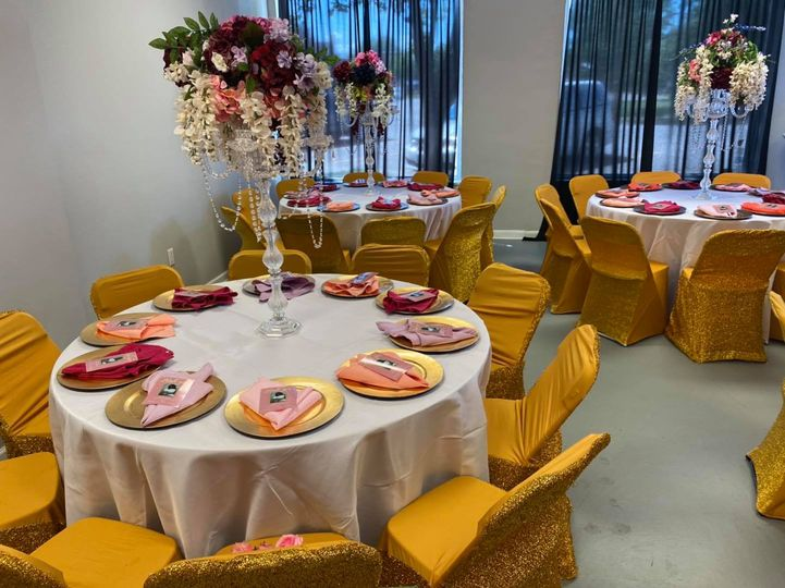 Gold chairs at round tables