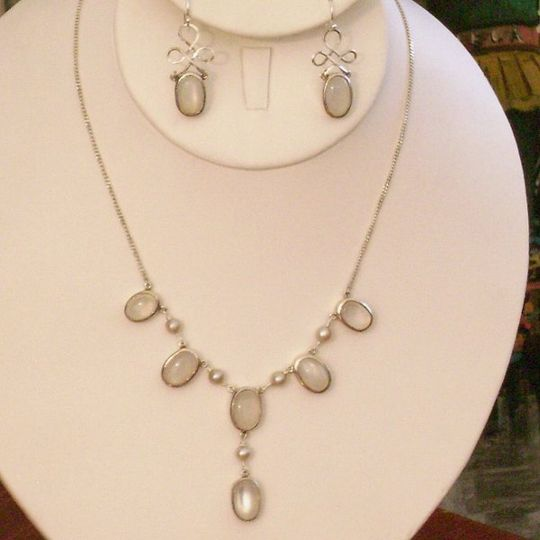 Genuine moonstone, freshwater pearls, and sterling silver bridal set