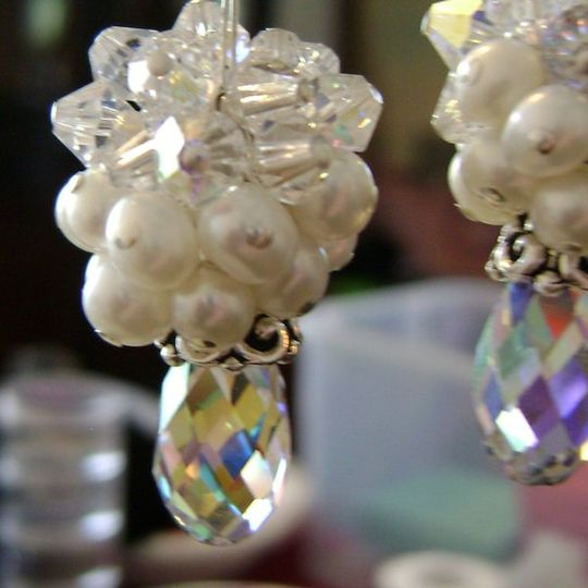 Swarovksi crsytals, freshwater pearls, and sterling silver bridal earrings