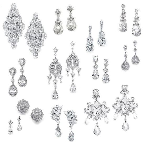 Gorgeous genuine CZ bridal earrings - more to choose from.