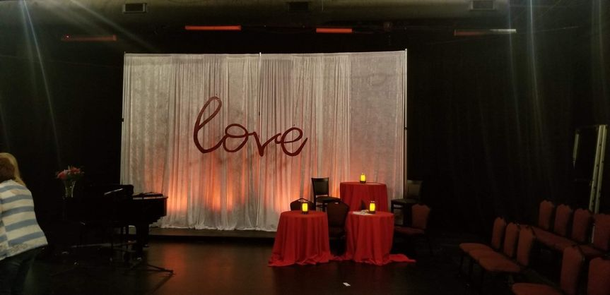 Backdrop draped with love