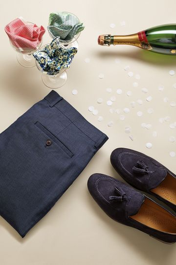 Navy pants and loafers
