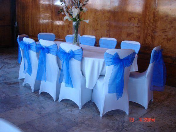 Royal blue organza sash