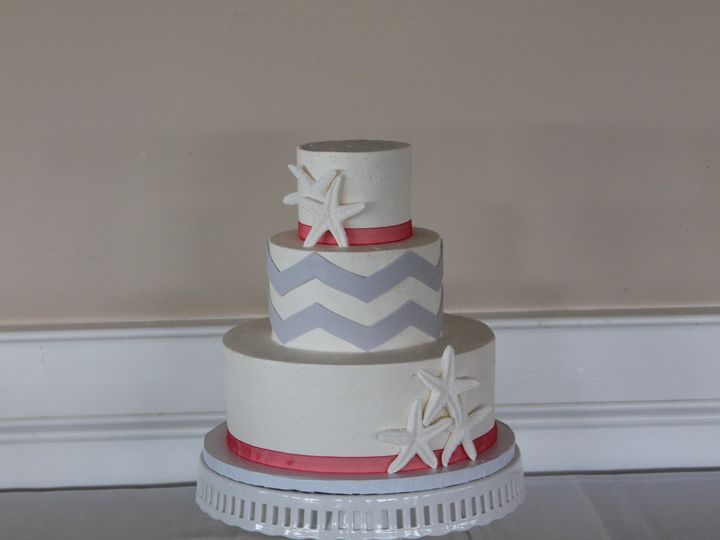 Tmx 1453053206600 Coral Gray Chevron Lewes, DE wedding cake