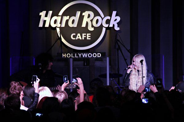 The Pretty Reckless performs live on stage at the Hard Rock Cafe.