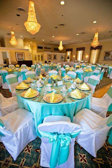Yellow and Tiffany Blue Wedding Fort McNair (Washington, DC)