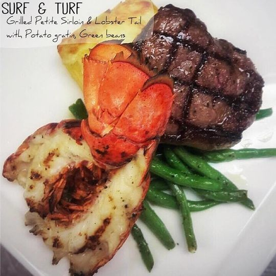Sirloin and lobster tail dish