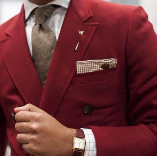 Red double-breasted suit