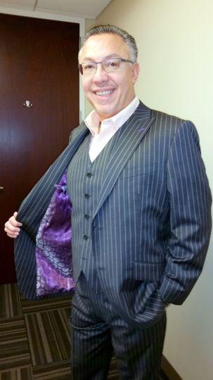 Pin-striped three-piece suit