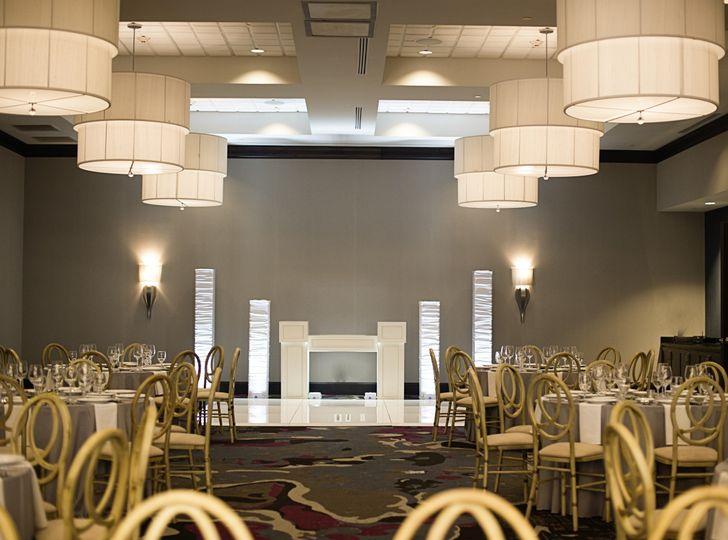 Wedding ceremony and reception setup