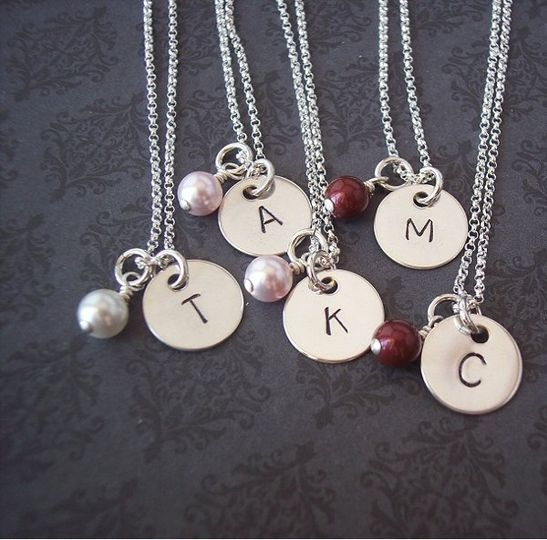 Bridesmaid Gifts - Bridesmaid Jewelry - Hand Stamped Jewelry Custom