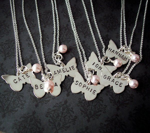 Flower Girl Gift - Hand Stamped Jewelry - Personalized Necklace - First Communion Gift