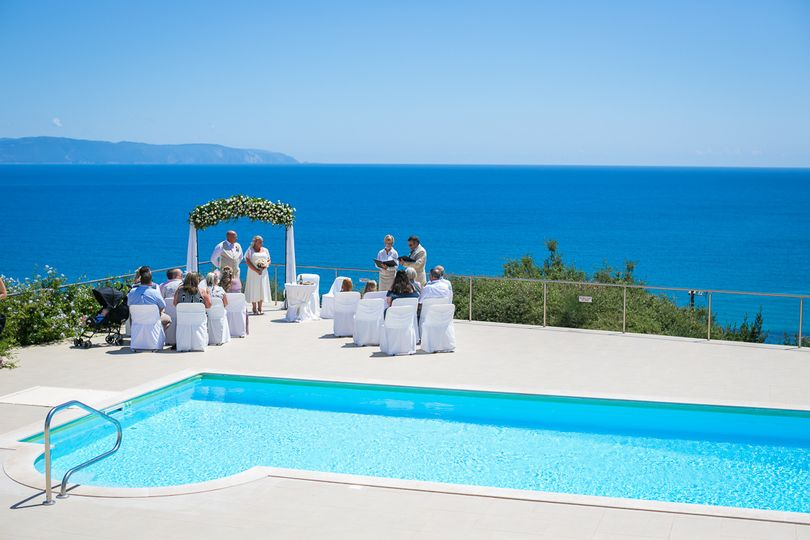 Poolside wedding with a view
