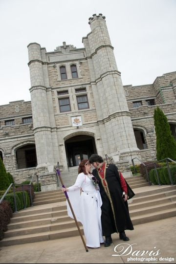 Fantasy wedding at Pythian Castle in Springfield, MO.
