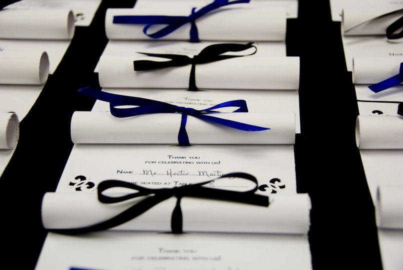 Seating assignment scrolls/placecards.  Thank you sentiment at top.