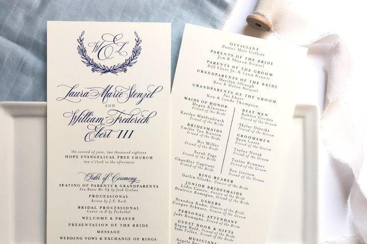 The Laura wedding program